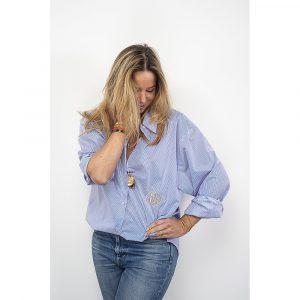 Les Félicités chemise coton rayé bleu et blanc chez By Mamé à Marseille