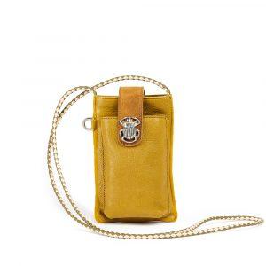 etui telephone cuir double marcus camel moutarde eshop By Mamé